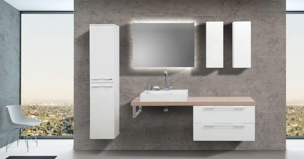 Badezimmermöbel Set mit Design Waschbecken, Lichtspiegel und - moderne badezimmermbel