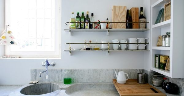 brass and marble kitchen shelves