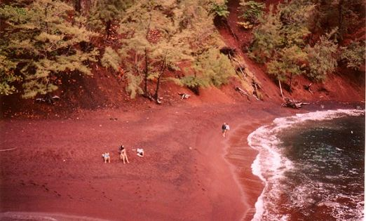 Red Sand Beach (also known as Kaihalulu) is located in Maui, Hawaii