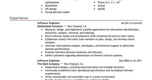 Best Software Engineer Resume Example LiveCareer Jobs and - software engineer resume template