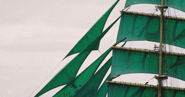 sail away - green sailing ship