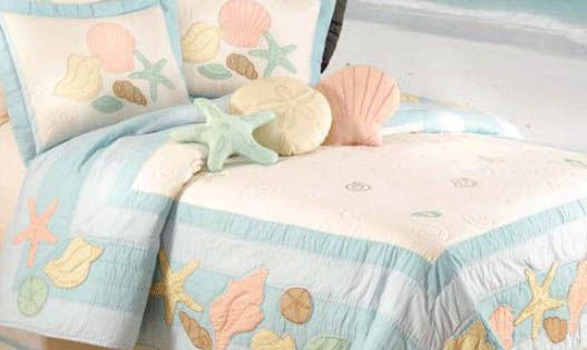 Our Enchanting Pastel Shells Quilt Pillow Shams And