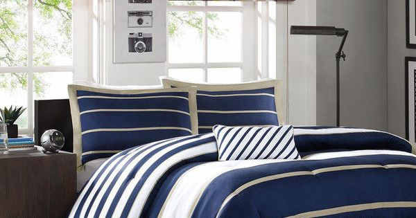 Details About Sporty Blue White Navy Tan Stripe Soft