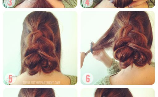 nice swirl girl; one inside out french braid with two twists; up-do;