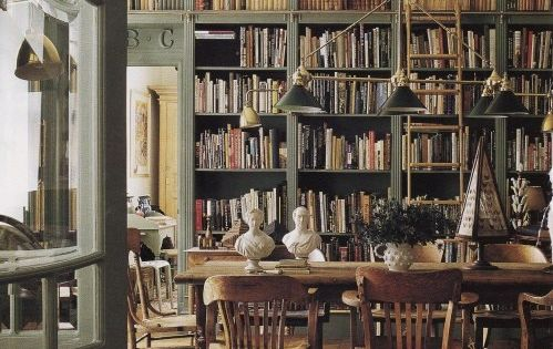 Bookshelves in dining room