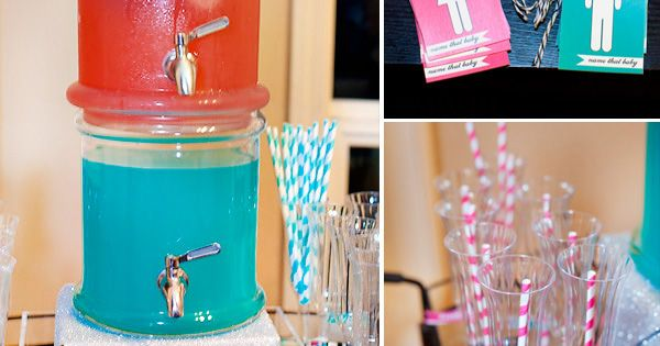 Baby gender party ideas - team blue and team pink. I love
