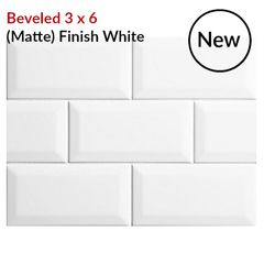Beveled White Matte Finish 3 X 6 Subway Tile On Sale 2 49 Per Square Beveled Subway Tile White Subway Tile Kitchen White Subway Tiles Kitchen Backsplash