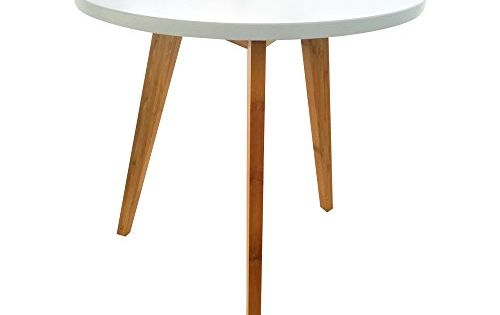 E Goal Natural Bamboo Furniture Kitchen Dining Table Vogue Carpenter Round Coffee Table White Wooden Tea Table Three Legs Desk For Home Office Room Decoration