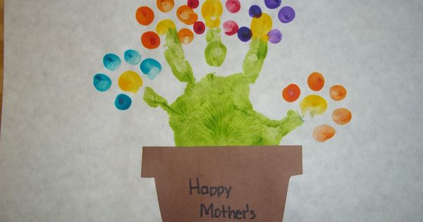 Cute idea for Mother's Day! Handprint Flower Pot mothersday kids craft