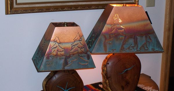 Copper Shade Mesquite Lamp W Turquoise Inlay Rustic