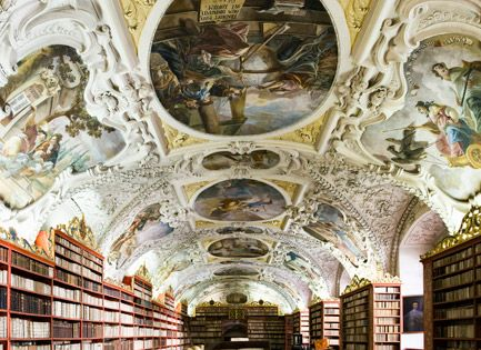 The Theological Library in the Strahov Monastery in Prague, Czech Republic libary