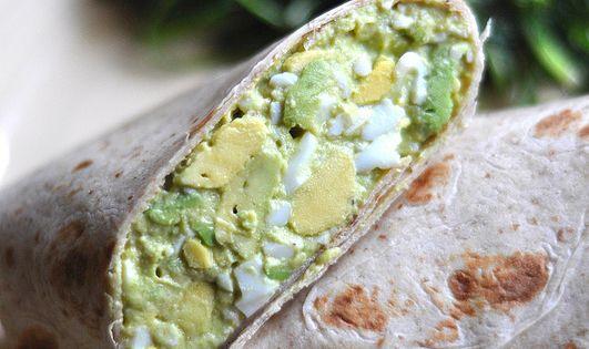 Avocado Egg Salad: 4 hard-boiled eggs, 1 large avocado, 2 T. yogurt,