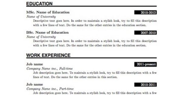 Simple Resume Format, Simple