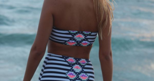Geometric Gigi. Vintage Bikini. Retro style. High waisted bottoms. Tribal and stripes.