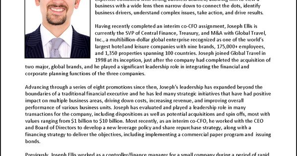 executive biography example for cfo