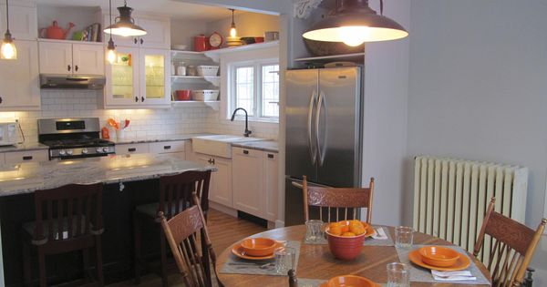 Historic Renovation Greek Revival Farmhouse Kitchen Orange Accents Two Tone Cabinets Open