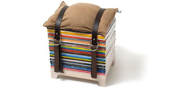 Upcycle your old magazines with this Adjustable Storage Stool by NJU Studio.