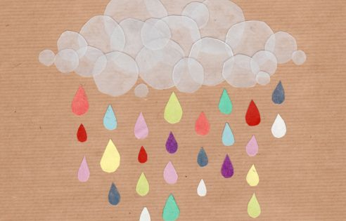 paper craft cloud and rain for a kids room :)