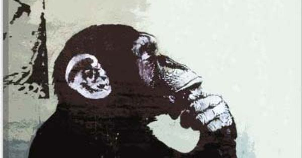 The thinker monkey by banksy street art collection - Wandsticker graffiti ...