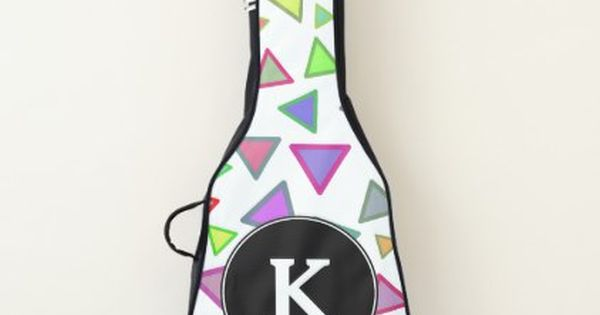 Custom Initial Multicolored Triangles Pattern Guitar Case Zazzle Com With Images Triangle Pattern Custom Initials Initials
