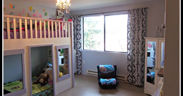 Kids room makeover with Loft bed / house & frugal ideas for