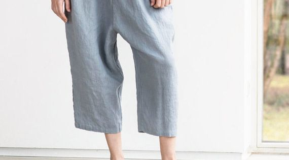 loose washed linen pants with deep pockets in light