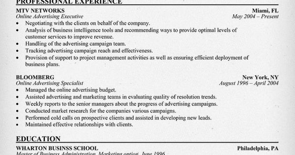 online advertising executive mtv resume example resumecompanioncom resume samples across all industries pinterest resume examples - Online Advertising Specialist