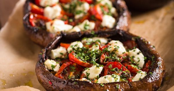 Stuffed Portobello Mushrooms With Roast Tomatoes and Goat Cheese - I love
