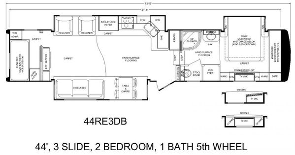 Continental Coach 43\' Double Bedroom Floorplans | RV\'s with bunk ...