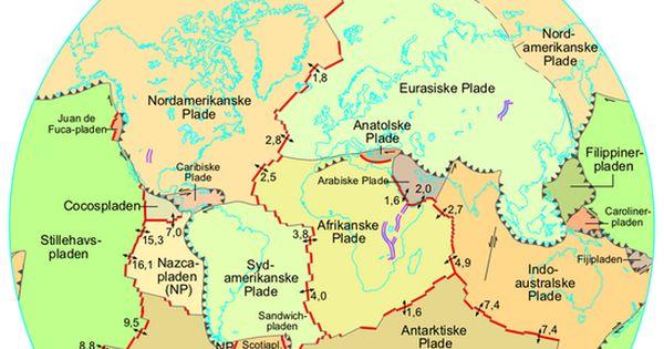 Kort Over De Tektoniske Plader Og Deres Hastighed Naturvidenskab