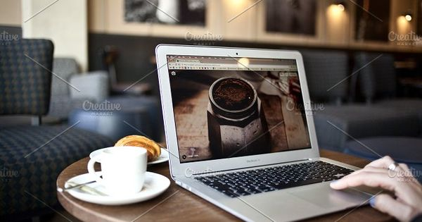 MacBook Air and coffee, MacBook Pro mockup, to enhance your website