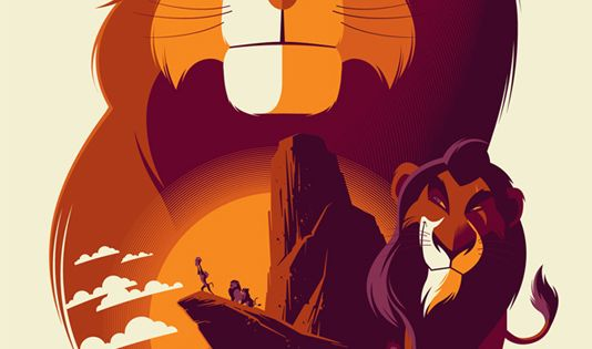 The Lion King / Tom Whalen / 10 Reimagined Disney Posters Bring