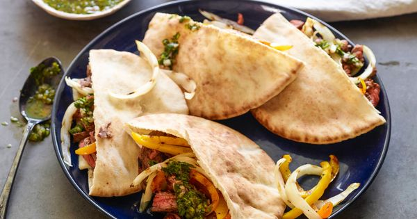 Skirt Steak Fajita Pita with Chimichurri | Recipe | Skirts, Jeff mauro ...