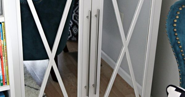 diy tutorial  how to add mirror doors to ikea billy bookcases and decorate them with a pretty x