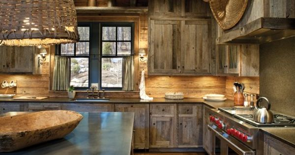 Barnwood kitchen cabinets.