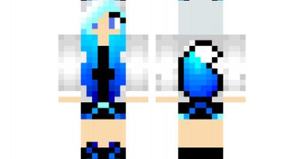 Minecraft skin: Blue-Haired Hoodie Fox Girl   Minecraft ...