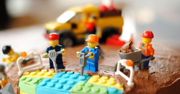 "lego birthday cake ""under construction"". I could see taking ordinary cake adding"
