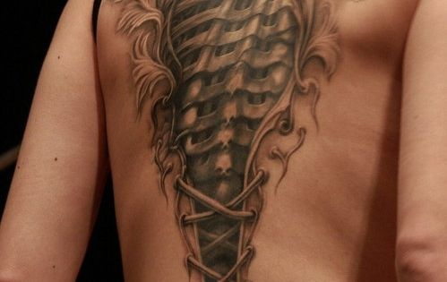 Amazing 3D Biomechanical Back Tattoo for Men | Cool Tattoo Designs
