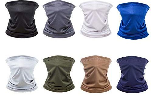 8 Pack Unisex Sun Uv Protection Face Bandana Neck Gaiter Reusable Washable Cooling Cloth Hal In 2020 Neck Gaiter Gaiters Headwear