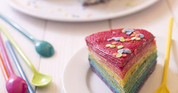 Gâteau de crêpes façon rainbow cake Recipe