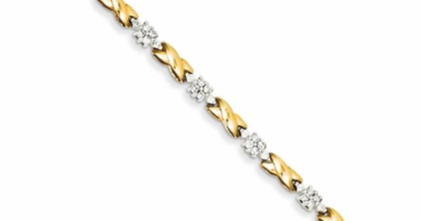 X O Two Tone 14 Gold 1 Carat Diamond Tennis Bracelet
