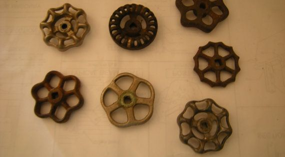 choice of faucet valves-vintage valves-art-crafts-robot building-steampunk-recycle-upcycle-salvage-hardware-rustic-