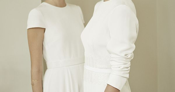 Charlotte Simpson modern simple wedding dress, long sleeve wedding dress, cap sleeve