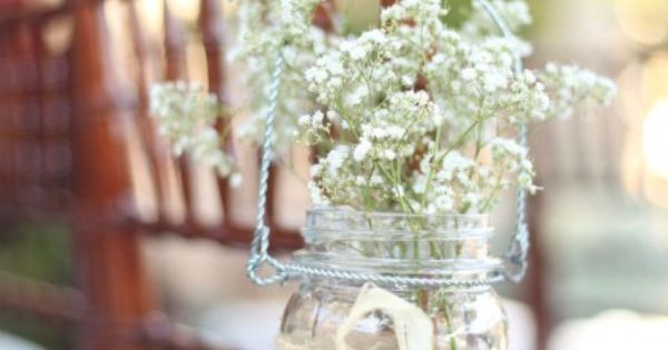 2014 Jar and flowers wedding chair decoration , baby's breath beach wedding