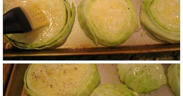 Garlic-rubbed roasted cabbage steaks