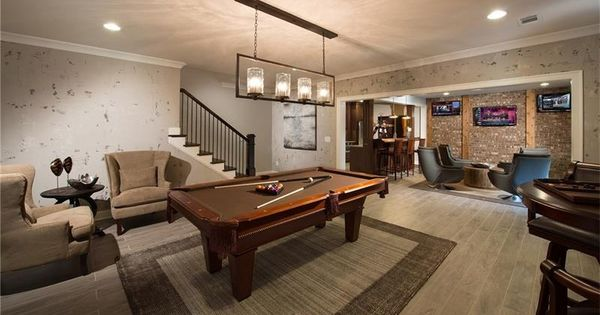 Transitional Game Room With Pendant Light High Ceiling