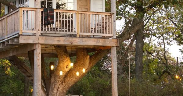 A combo playhouse and treehouse! Looks more like a guest house... or