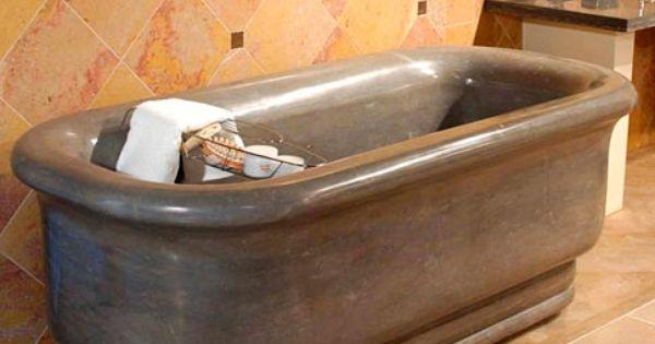 Nova blue limestone bathtub maiden stone inc for the for Limestone tub