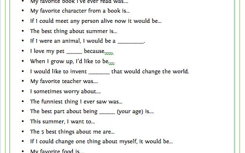 summer journal prompts - would be great to go with the new