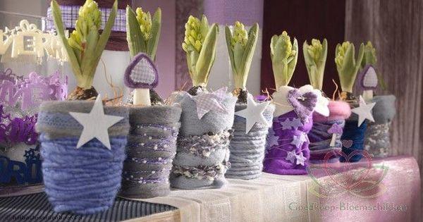 Bloempot of vaas omwikkelen met wol lint kant garen enz en dan versieren met kralen parels - Versieren van een muur in ...